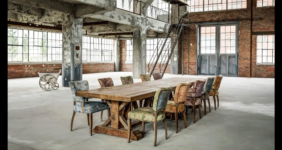 d coration int rieure industrielle et table de ferme table monastere table bois massif table. Black Bedroom Furniture Sets. Home Design Ideas
